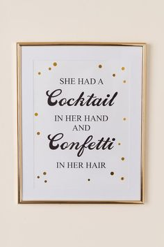 Cocktail In Hand, Confetti In Hair Wall Decor