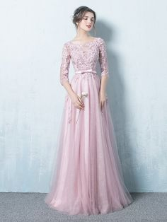 A-Line/Princess Scoop 1/2 Sleeves Floor-Length Applique Tulle Dresses