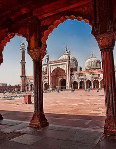 India, Delhi - Mosque designed by Shah Jahan, moghul ruler, the same designer of Taj Mahal,
