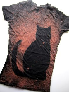 Cat shirt- Galaxy Shirt - Black Cat - Rusty Red Hand Dyed Eco Friendly Bleached T shirt - Short Sleeve V neck T shirt Women size SMALL (S)