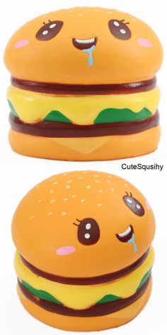 soft sponge squishies of a burger with a face, slow rising, size: ca.