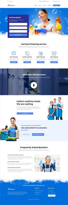 LeadPack is clean and modern design multipurpose #PSD template for #cleaning services #website with 13 niche homepage layouts and 22 layered PSD pages to live preview & download click on image or Visit 👆