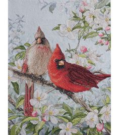 """Bucilla Heirloom Collection Cardinals Counted Cross Stitch Kit-10""""X13-1/2"""" 28 Count"""
