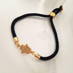 Čierny zirkónový náramok s hamsou, MBZ021 Jewerly