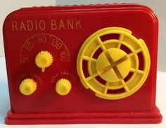 RARE! Vintage Red Plastic Radio Bank by RELIABLE TOY COMPANY! Made in Canada!