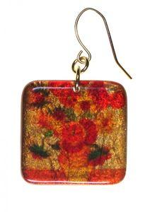4235-6 - 1/2'  Square Orange Floral Earring originjewelry.net