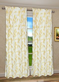 Amazon.com: Pack 2 CaliTime Window Curtains Panels 55 X 84 Inches, Cute Growing Leaves, Gold: Home & Kitchen