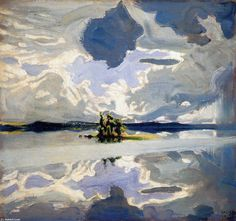 """""""Clouds Above a Lake"""", Oil On Canvas by Akseli Gallen Kallela (1865-1931, Finland)"""
