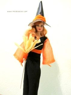 Halloween witch dress for Barbie dolls DIY Craft Project