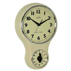 An ideal clock for my kitchen, I can even time the perfect egg Kitchen Wall Clocks, Kitchen Time, Vintage Kitchen, Cool Kitchens, Dinnerware, Wall Decor, Retro, Simple, Decor Ideas