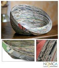 Argentina and Francisco present an abstract bowl handmade by the students of Asociacion ADISA. Strips of recycled paper form the unusual shape of this bowl.