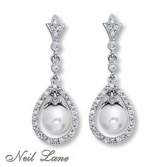 Neil Lane Designs Cultured Pearl Earrings Sterling Silver  too expensive but beautiful idea