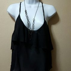 Thin strap black blouse with ruffles at top 100% polyester Black thin strap blouse Tops Blouses