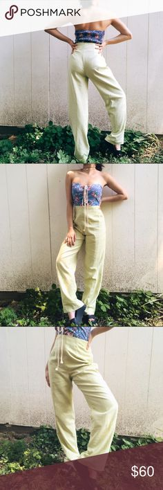 🆕High Waisted Lime Green Trousers High Waisted Lime Green Trousers. These are absolutely precious!! In perfect flattering condition and looks awesome with a vintage graphic tee and some chucks, or dressed up with a black silky tank and some strappy heels. Will fit waist 2-4 best! As seen tightened on a 00 model.  #vintage #vintagepants #highwaisted #higgwaistedtrousers #limegreentrousers #limegreen no brand tags, vintage! Reformation Pants Trousers