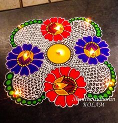 #kolam#rangoli#red#blue#green#yellow#flower#lace