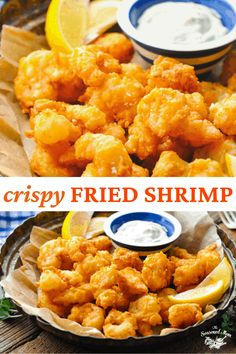 The best fried shrimp recipe is dipped in buttermilk, dredged in a light and crispy seasoned flour coating, and fried to golden brown perfection. Prepare this easy dinner or party appetizer on your stovetop in just minutes! Shrimp Recipes