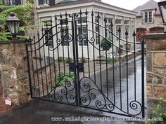 wrought iron entry gates | Raleigh Wrought Iron and Fence Co. Custom Wrought Iron Gates in ...