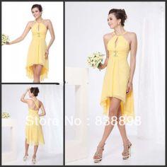 Short Front Long Back Simple Design Halter Neckline Sleeveless Yellow Knee-length Chiffon Beach Bridesmaid Dresses $95.00