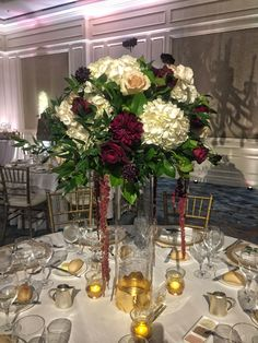 tall centre piece white roses and gyp - Google Search White Hydrangea Centerpieces, Dahlia Centerpiece, Tall Wedding Centerpieces, Hydrangea Bouquet, Wedding Decorations, Tall Centerpiece, Wedding Ideas, Glamorous Wedding Flowers, Floral Wedding
