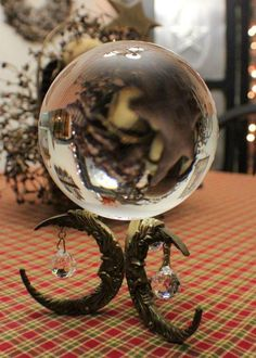 Divination: Beautiful vintage crystal ball with stand, by Stilletos On A Dirt Road. Mandala Lunar, Magick, Witchcraft, Mystique, Witch Aesthetic, Book Of Shadows, Crystal Ball, Crystal Sphere, Quartz Crystal