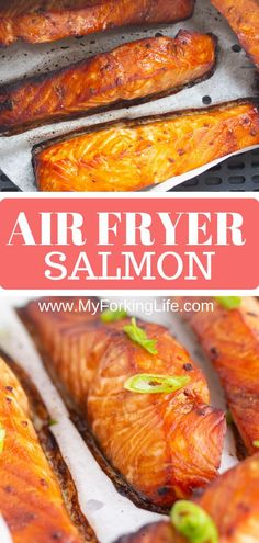 This Marinated Air Fryer Salmon recipe creates a perfectly cooked with filet with simple marinade ingredients An easy and delicious recipe for any weeknight airfryersalmon airfryerfish airfryerrecipe salmon Salmon In Air Fryer, Air Fryer Recipes Salmon, Air Fryer Fish, Air Fryer Dinner Recipes, Air Fryer Recipes Easy, Easy Fish Recipes, Baked Salmon Recipes, Seafood Recipes, Easy Meals