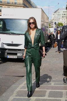 Paris Fashion Week SS15 #StreetStyle 25 Balmain leather jumpsuit