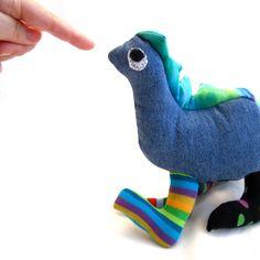 Handmade Dinosaur Plush Stuffed Animal - Upcycled Jeans and Socks