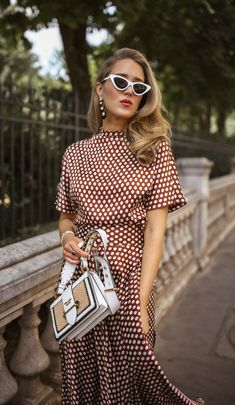 Pretty Woman Vibes: The Brown Polka Dot Set // Silk polka dot maxi skirt with coordinating polka dot high neck short sleeve blouse, white pointed toe mules, white cat eye sunglasses {DVF, Cult Gaia, classic style, Le Specs, Prada}