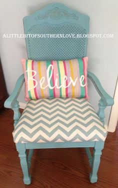 A Little Bit Of Southern Love Blog: Turquoise Painted Wooden Chair with Chevron Fabric