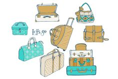 Set of bags and suitcases for travel by Vera Holera on Creative Market