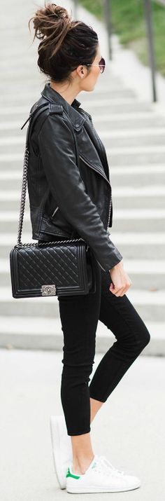 Christine Andrew + simple + all black outfit + cropped black jeans + leather jacket + cross body quilted leather bag + all black outfit + casual yet sophisticated style  Jacket: All Saints, Jeans: Nordstrom.