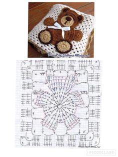 Cuscini Crochet Bedspread Pattern, Crochet Quilt, Crochet Cushions, Granny Square Crochet Pattern, Crochet Pillow, Crochet Diagram, Crochet Stitches Patterns, Crochet Squares, Crochet Chart