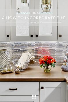 Daytona Beach Mix Metal Mosaic Design by West Bay Homes. Style Tile, Transitional Style, Clean Kitchen Design, Contemporary Light Fixtures, The Tile Shop, Transitional House, Shaker Style Cabinetry, Glass Mosaic Backsplash, Residential Tile