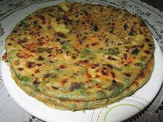 'Methi-Aloo-Paratha' (Potato-Fenugreek Flatbread)