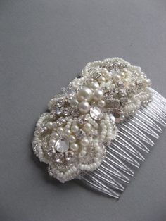 Vintage Wedding bridal fascinator embroidery lace hairpiece Hair comb Ivory rhinestone pearls lace beaded. $76.00, via Etsy.