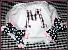 Houndstooth Initial Baby Bloomers with Baby Pink & Houndstooth Bows. $21.00, via Etsy.