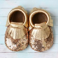 Gold Sequins Baby Moccasins by StitchesAndSoles on Etsy, $40.00