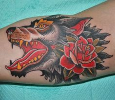 Image result for traditional wolf tattoo