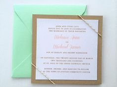Mint and Gold Metallic Pattern Peach Blush Vintage Simple Contemporary Elegant Wedding Invitation Indie Shabby Chic Country Boho Bohemian on Etsy, $2.60