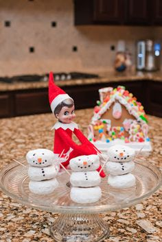 Elf on the shelf, some cute ideas-make a gingerbread house, make donut snowmen
