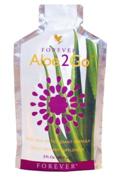 Forever Living - Aloe2Go. Aloe Vera Gel blended with Pomesteen Power helps maintain the immune system. In a single-serving foil pouch, Aloe2Go is ready to drink anytime and anywhere. Ideal when travelling and on the go! 30 sachets per box. Www.alexandrapeacock.flp.com