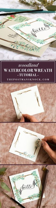 This tutorial will teach you how to paint a simple watercolor wreath -- perfect for gift tags, invitation designs, and mail art!