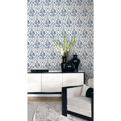 Seabrook Wallpaper MT81904 - Montage - Damask design wallcovering in a living room photo