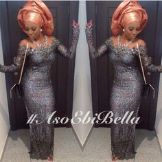 Long Grey Lace Sequined Dress & Orange Gele. Nigerian wedding bride inspiration.
