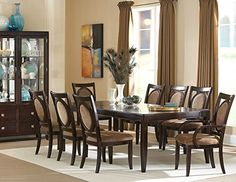 """Steve Silver Company Montblanc Table with Two 18"""" Leaves, 46"""" x 60""""/78""""/96"""" x 30"""""""