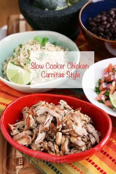 Slow Cooker Chicken Carnitas Style from Jeanette's Healthy Living [via Slow Cooker from Scratch - SlowCookerFromScratch.com] #SlowCooker #CrockPot #Paleo