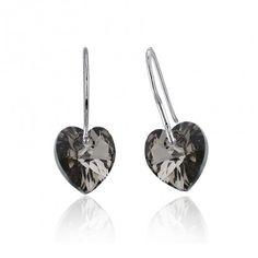Дамски обеци с кристали SWAROVSKI® - сърца BOKACHA - черен