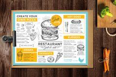 Burger menu template for restaurant. Creative and modern food menu templates for your restaurant business.  More #printable #menu for your #brand you can download here ➝ https://creativemarket.com/BarcelonaDesignShop?u=BarcelonaDesignShop