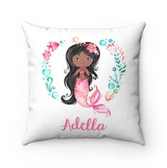 Personalized Mermaid Pillow, African American Mermaid, Name Pillow, Mermaid Gifts, Dark Skinned Mermaid, Mermaid Throw Pillow, Black Mermaid