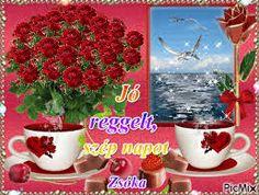 """Képtalálat a következőre: """"jó reggelt szép napot"""" Coffee Images, Red Roses, Good Morning, Planter Pots, Blog, Painting, Jute, Buen Dia, Bonjour"""